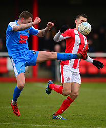 MATT LOWE BRACKLEY TOWN BATTLES WITH JOE LEESLEY HARROGATE TOWN, Brackley Town v Harrogate Town Vanarama National League North, St James Park Good Friday 30th March 2018, Score 0-0.