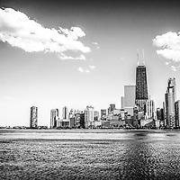 Chicago lakefront skyline black and white picture. Photo Includes the John Hancock Center Building along Chicago's Near North Side and Streeterville neighborhood.