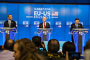 The United States President Barack Obama, left, hold a press conference with Herman Van Rompuy, President of the European Council and Jos&eacute; Manuel Barroso, President of the European Commission, after a meeting during the EU-US Summit in Council of Europe, in Brussels, Wednesday 26, March 2014.<br /> This is the first visit for President Barack Obama to the European Institutions in Brussels. Photo by Delmi Alvarez