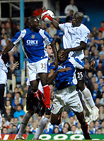 Photo: Ed Godden.<br /> Portsmouth v Bolton Wanderers. The Barclays Premiership. 25/09/2006. Bolton's Aboulaye Faye (R) appears to touch the ball in the area, but no penalty is given.