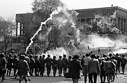 705/4-1 (34)...  The National Guard fire tear gas to disperse the crowd gathered on the commons, May 4, 1970.