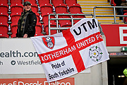 Rotherham fan putting up a flag  before the EFL Sky Bet League 1 play off second leg match between Rotherham United and Scunthorpe United at the AESSEAL New York Stadium, Rotherham, England on 16 May 2018. Picture by Nigel Cole.
