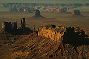 A late evening aerial view of Monument Valley, Utah, USA
