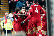 Liverpool celebrate Liverpool striker Roberto Firmino (9) goal during the Premier League match between Liverpool and Crystal Palace at Anfield, Liverpool, England on 19 January 2019.
