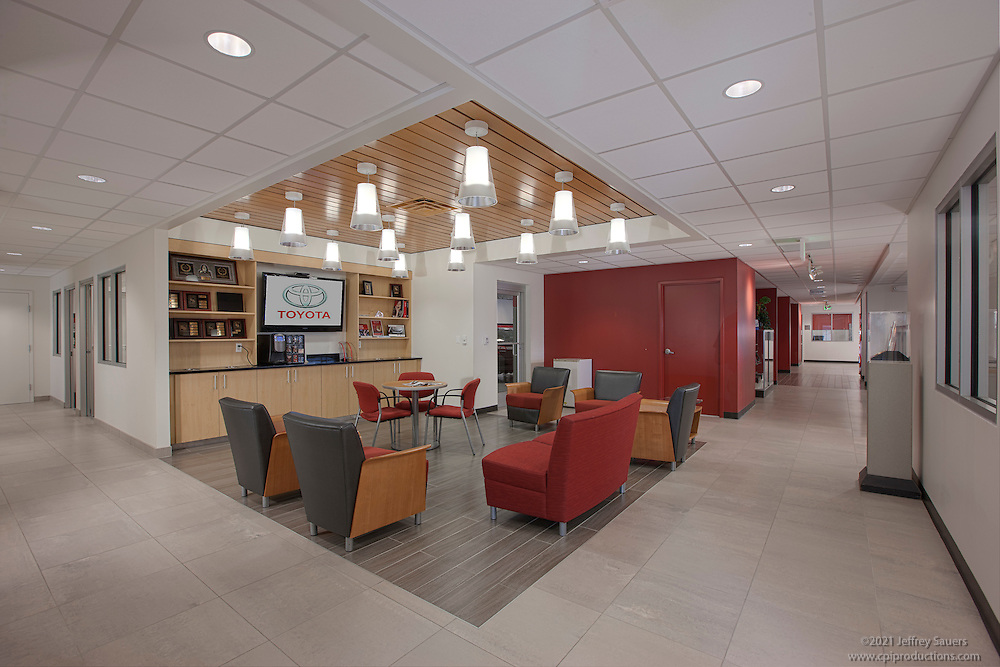 Architectural interior image of Maryland Toyota Dealership R & H in Owings Mills
