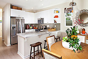 Kitchen and Dining Room Model with Stainless Steel Appliances and Light Hard Wood Floors