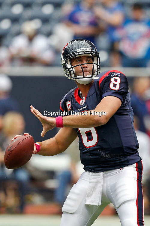 October 10, 2010; Houston, TX USA; Houston Texans quarterback Matt Schaub (8) during warm ups prior to kickoff of a game against the New York Giants at Reliant Stadium. The Giants defeated the Texans 34-10. Mandatory Credit: Derick E. Hingle