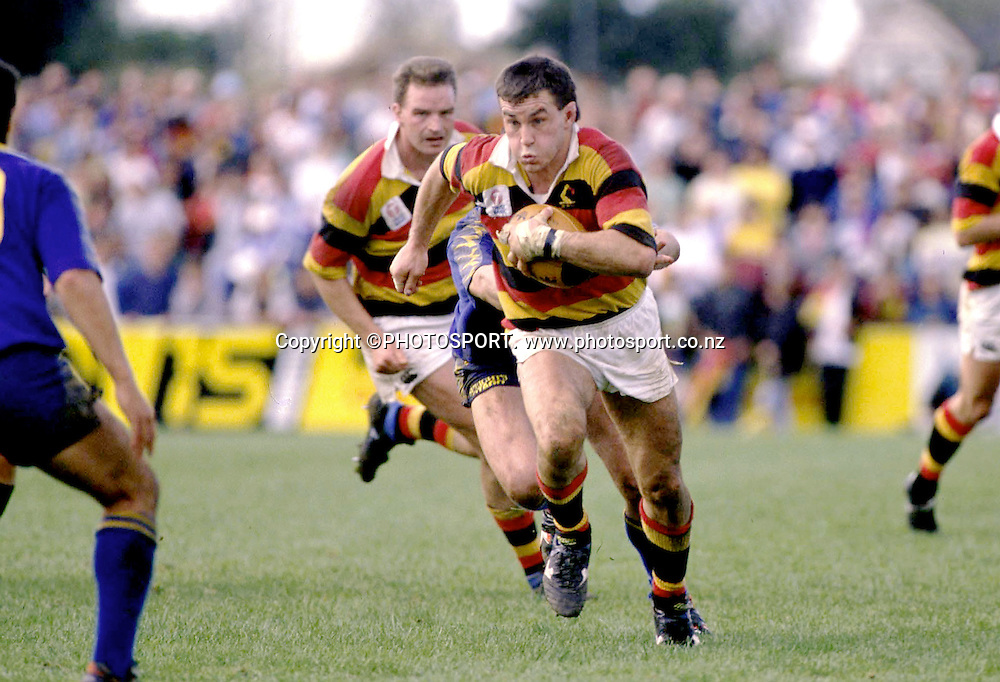 Waikato's Duane Monkley in action during the NPC rugby union match between Waikato and Otago, 1992. Photo: PHOTOSPORT
