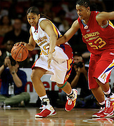 Connecticut  recruit Maya Moore dribbles the ball upcourt against Ta'Shia Phillips during the McDonald's All American High School Basketball Games at Freedom Hall in Louisville, Kentucky on March 28, 2007.
