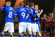 GOAL STEVEN DAVIES CELEBRATES SCORING with fellow goalscorer Ian Henderson 2-0 during the EFL Sky Bet League 1 match between Rochdale and Shrewsbury Town at Spotland, Rochdale, England on 30 December 2016. Photo by Daniel Youngs.