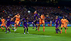 MARIBOR, SLOVENIA - Tuesday, October 17, 2017: Liverpool's Roberto Firmino scores the fifth goal with a header during the UEFA Champions League Group E match between NK Maribor and Liverpool at the Stadion Ljudski vrt. (Pic by David Rawcliffe/Propaganda)