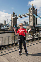 Virgin Money London Marathon 2015<br /> <br /> Photocall featuring the original winners from the first London Marathon in 1981 <br /> <br /> Joyce Smith  (Womens Winner 1981)<br /> <br /> Photo: Bob Martin for Virgin Money London Marathon<br /> <br /> This photograph is supplied free to use by London Marathon/Virgin Money.