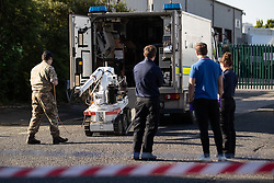 © Licensed to London News Pictures . 14/05/2020. Manchester, UK. The Royal Logistics Corps deploy a bomb disposal robot at an industrial unit as police, fire and army respond to a scene in Trafford Park. Greater Manchester Police say that, whilst searching a vehicle seized yesterday evening (13th May 2020) in Salford as part of an investigation in to drugs, a suspicious device was discovered . Photo credit: Joel Goodman/LNP