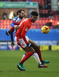 Nick Powell of Wigan Athletic (L) and Philip Billing of Huddersfield Town in action - Mandatory by-line: Jack Phillips/JMP - 02/01/2017 - FOOTBALL - DW Stadium - Wigan, England - Wigan Athletic v Huddersfield Town - Football League Championship