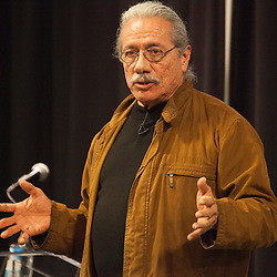 Actor Edward James Olmos at University of Missouri - Kansas City delivering a lecture on Cesar Chavez, April 15, 2014.