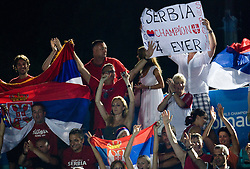 Fans of Serbia celebrate after the Men's  Waterpolo Final match between National teams of Serbia and Spain during the 13th FINA World Championships Roma 2009, on August 1, 2009, at the Stadio del Nuoto,  in Foro Italico, Rome, Italy. Serbia won after penalties shootout 14:13.  (Photo by Vid Ponikvar / Sportida)