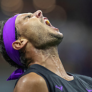 2019 US Open Tennis Tournament- Day Eight.  Rafael Nadal of Spain in action against Marin Cilic of Croatia in the Men's Singles round four match on Arthur Ashe Stadium during the 2019 US Open Tennis Tournament at the USTA Billie Jean King National Tennis Center on September 2nd, 2019 in Flushing, Queens, New York City.  (Photo by Tim Clayton/Corbis via Getty Images)