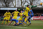 Oxford United goalkeeper Benjamin Buchel punches the ball clear during the Sky Bet League 2 match between AFC Wimbledon and Oxford United at the Cherry Red Records Stadium, Kingston, England on 27 February 2016. Photo by David Vokes.