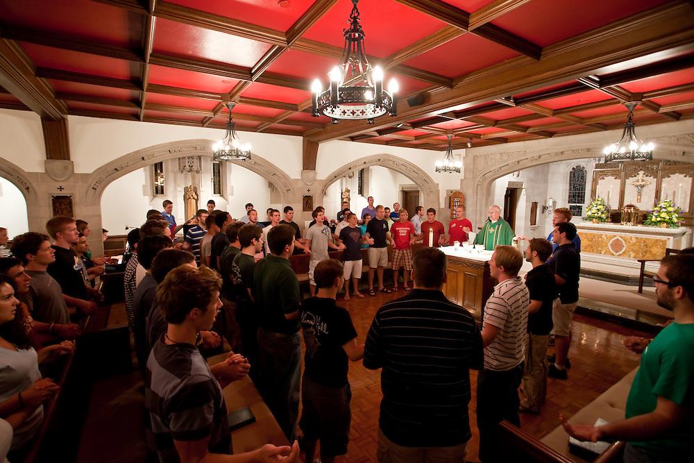 Aug. 28, 2011; Rev. George Rozum, C.S.C., rector of Alumni Hall, celebrates Sunday night Mass in the Alumni Hall chapel...Photo by Matt Cashore/University of Notre Dame
