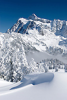 Mount Shuksan 9,127feet (2,782m) in winter seen from Kulshan Ridge of Heather Meadows Recreation Area, North Cascades Washington USA