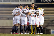 Western Sydney Wanderers in a huddle  at the FFA Cup Round 16 soccer match between Bonnyrigg White Eagles FC v Western Sydney Wanderers FC at Marconi Stadium in Sydney.