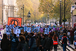 London, November 19th 2014. Thousands of students march through central London, demanding that education fees are scrapped by the government. PICTURED: Students flood down Whitehall on their way to Old Palace Yard.