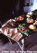 Hans Herr House, 1719, kitchen table, produce