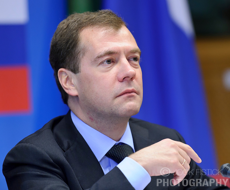 """Dmitry Medvedev, Russia's president, pauses during the EU-Russia summit at the European Union council headquarters in Brussels, Belgium, on Tuesday, Dec. 7, 2010. Russia will move a step closer to membership in the World Trade Organisation today when it signs an agreement with the European Union settling """"key questions"""" that have hampered its accession bid for years. (Photo © Jock Fistick).."""