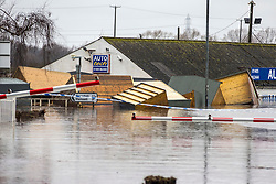 © Licensed to London News Pictures. 28/02/2020. Snaith UK. Sheds float in flood water in Snaith where residents have been evacuated from flood water in Yorkshire as the UK prepares for storm Jorge. Photo credit: Andrew McCaren/LNP