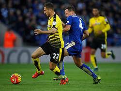 Almen Abdi of Watford (L) and Daniel Drinkwater of Leicester City in action  - Mandatory byline: Jack Phillips/JMP - 07966386802 - 7/11/2015 - SPORT - FOOTBALL - Leicester - King Power Stadium - Leicester City v Watford - Barclays Premier League