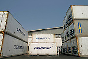 Refrigerated containers at harbour in Tema, Ghana.