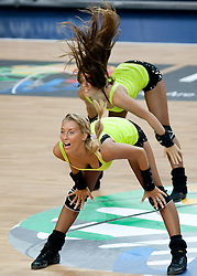 Cheerleaders perform during the fifth-place basketball match between National teams of Slovenia and Spain at 2010 FIBA World Championships on September 10, 2010 at the Sinan Erdem Dome in Istanbul, Turkey.  Spain defeated Slovenia 97 - 80. (Photo By Vid Ponikvar / Sportida.com)