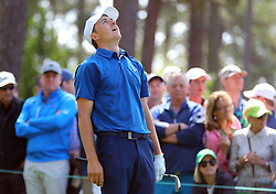 April 6, 2018 - Augusta, GA, USA - Jordan Spieth reacts to a bad tee shot on four during the second round of the Masters at Augusta National Golf Club on Friday, April 6, 2018, in Augusta, Ga. (Credit Image: © Curtis Compton/TNS via ZUMA Wire)
