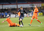 Kilmarnock captain Manuel Pascali brings down Jim McAlister for the penalty which won the game -  Dundee v Kilmarnock, SPFL Premiership at Dens Park <br /> <br /> <br />  - &copy; David Young - www.davidyoungphoto.co.uk - email: davidyoungphoto@gmail.com