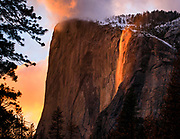 I came to Yosemite hoping to get the firefall sunset.  My first day was a bust with rain, and the forecast was not looking good.  After waiting several hours though a few snow showers it was all made worthwhile when a window cleared at sunset and the beautifully lit falls appeared.  Sometimes everything lines up!