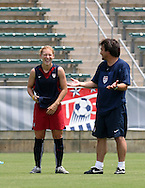29 July 2006: Lori Chalupny (USA) (l) with assistant coach Bret Hall (USA) (r). The United States Women's National Team trained at SAS Stadium in Cary, North Carolina, in preparation for an International Friendly match against Canada to be played on Sunday, July 30.