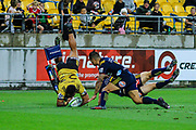 Vince Aso scores during the super rugby union  game between Hurricanes  and Highlanders, played at Westpac Stadium, Wellington, New Zealand on 24 March 2018.  Hurricanes won 29-12.