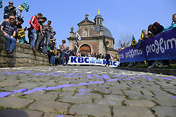 The cobbles await the race on the Muur Kapelmuur Geraardsbergen during the 2019 Ronde Van Vlaanderen 270km from Antwerp to Oudenaarde, Belgium. 7th April 2019.<br /> Picture: Eoin Clarke | Cyclefile<br /> <br /> All photos usage must carry mandatory copyright credit (© Cyclefile | Eoin Clarke)