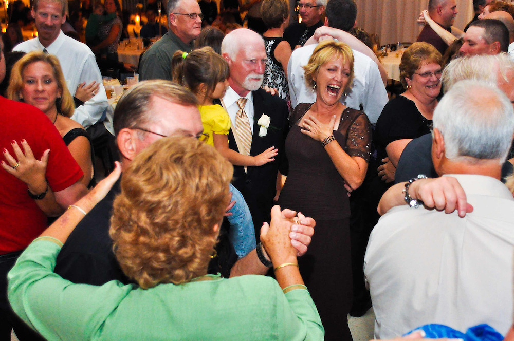 Abby's mom has a laugh on the dance floor at White House Baquet Hall, Richland Center, WI