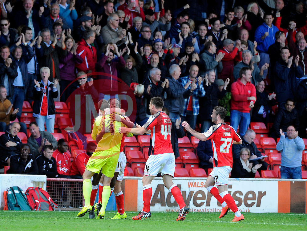 Walsall's Romaine Sawyers celebrates his goal with Walsall's Richard O'Donnell  - Photo mandatory by-line: Joe Meredith/JMP - Mobile: 07966 386802 - 04/10/2014 - SPORT - Football - Walsall - Bescot Stadium - Walsall v Bristol City - Sky Bet League One