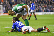 36 Ryan Porteous suggests 20 Alfredo Morelos went down too easily in the box during the Ladbrokes Scottish Premiership match between Hibernian and Rangers at Easter Road, Edinburgh, Scotland on 19 December 2018.