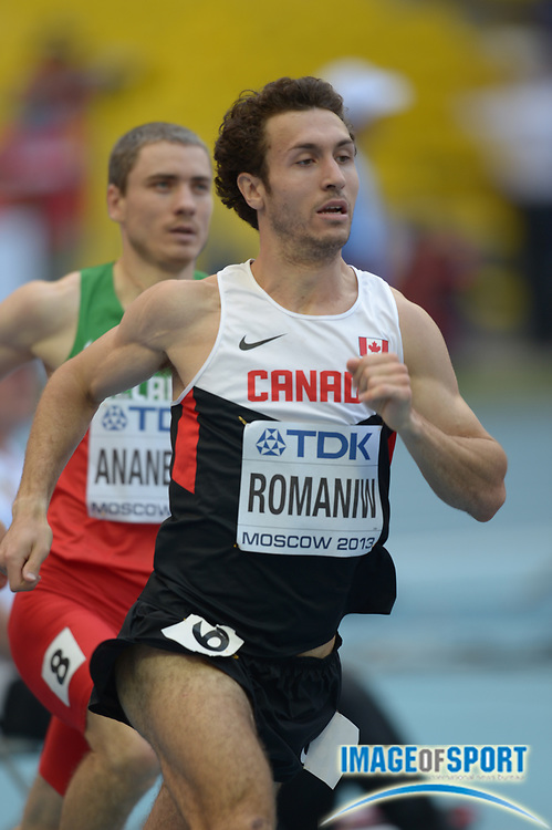 Aug 10, 2013; Moscow, RUSSIA; Anthony Romaniw (CAN) runs 1:47.98 in a 800m heat  in the 14th IAAF World Championships in Athletics at Luzhniki Stadium.