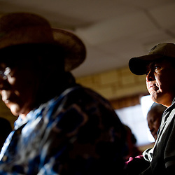 050509     Brian Leddy.Larry King listens as a representative from the Environmental Protection Agency talks about the the ongoing uranium cleanup at the old United Nuclear mine mill site on Tuesday.  The agency held the meeting to discuss it's progress.