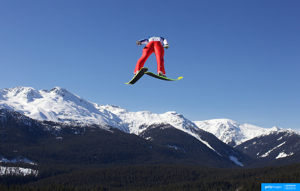 Winter Olympics, Vancouver, 2010.Pavel Karelin, Russia, in action in the first round of the Ski Jumping Men's LH at Whistler Olympic Park, Whistler, during the Vancouver Winter Olympics. 20th February 2010. Photo Tim Clayton