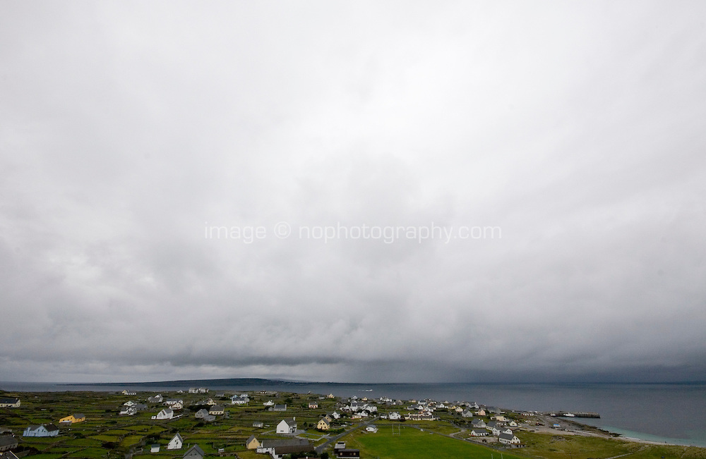 View of storm clouds over the sea from Inis Oirr Island the Aran Islands County Galway Ireland