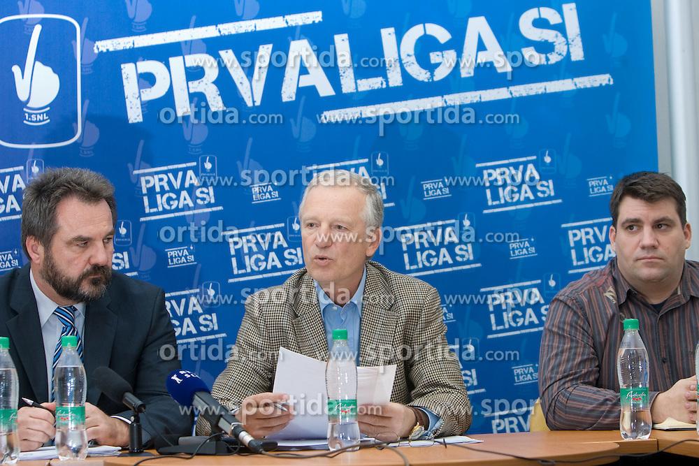 Stane Orazem, Branko Florjanic in Grega Sever at press conference of ZNPL, on November 10, 2009, in Ljubljana, Slovenia.   (Photo by Vid Ponikvar / Sportida)