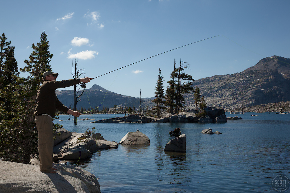 """Fly Fishing at Lake Aloha"" - Photograph of Tony Spiker of www.SpikerPhotography.com fly fishing at Lake Aloha in the Tahoe Desolation Wilderness."