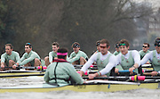 London, Great Britain, Cambridge  Fuete, start to pull clear as both crews race on the  Hammersmith bend, during the BNY Mellon, 2016 University Men's Boat Race, Putney to Mortlake. ENGLAND. <br /> <br /> Sunday 13.12.2015<br /> <br /> [Mandatory Credit; Peter Spurrier/Intersport-images]<br /> <br /> CUBC Trial VIII's between FUERTE on Surrey and LISTO on Middlesex<br /> <br /> FUERTE, Bow, Peter Carey, 2, Patrick Elwood, 3, Alister Taylor, 4, Peter Rees, 5, Charlie Fisher, 6, Ali Abbasi, 7, Luke Juckett, Stroke, Lance Tredell, Cox, Ian Middleton<br /> <br /> LISTO, Bow, Piers Kasas, Felix Newman, 3, Sam Ringer, 4, Joe Carroll, 5, Clemens Auersperg, 6, Vincent Bertram, 7, Henry Hoffstot, Stroke, Ben Ruble, Cox, Hugo Ramambason