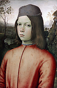 Portrait of a Young Boy', c1500. Oil on wood. Pintoricchio (Bernadino di Betto 1454-1513) Italian Renaissance painter. Head-and shoulders portrait of boy with shoulder-length hair wearing red jacket and blue-grey cap.