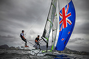 49er sailors Peter Burling and Blair Tuke from New Zealand sail during a practice race in Guanabara Bay in Rio de Janeiro, Brazil, 03 August 2016. Sailing events at 2016 Olympic Games start on 08 August.
